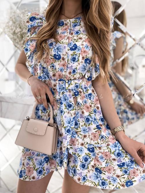 sukienka niebieska w kwiaty z paskiem Igos