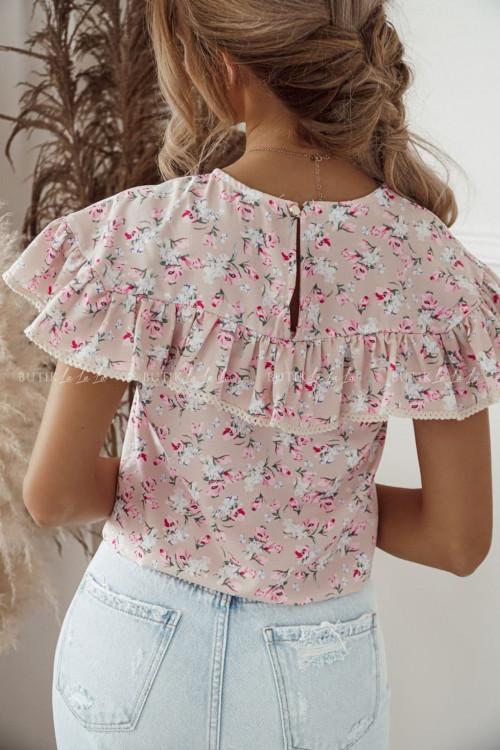 bluzka pudrowa w kwiatowy print Solenti