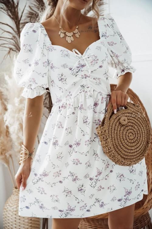 sukienka biała w delikatne kwiatki Xana