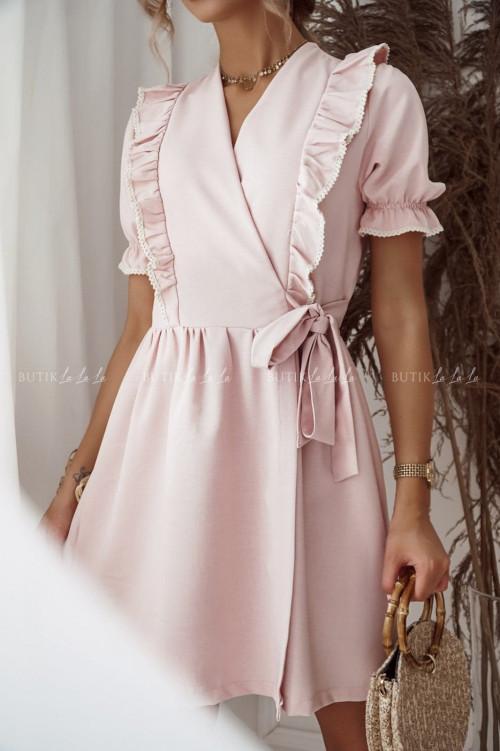 sukienka pudrowa przekładana Estera