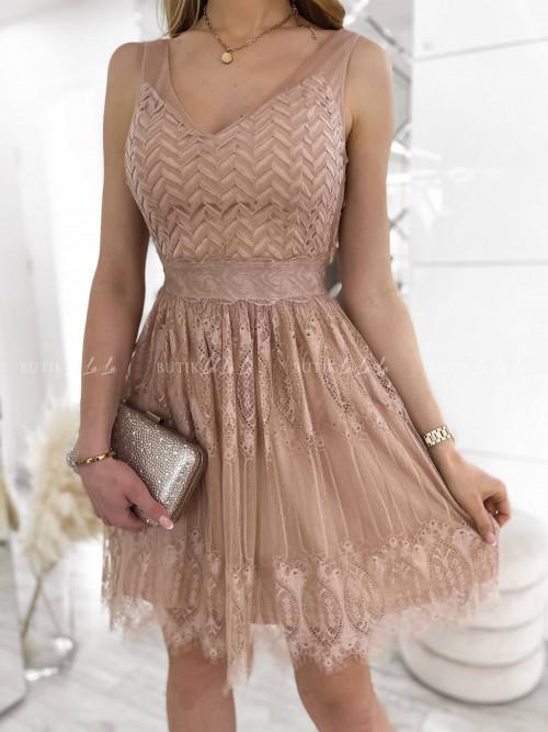 sukienka mini tiulowa z koronką beżowa Sisi