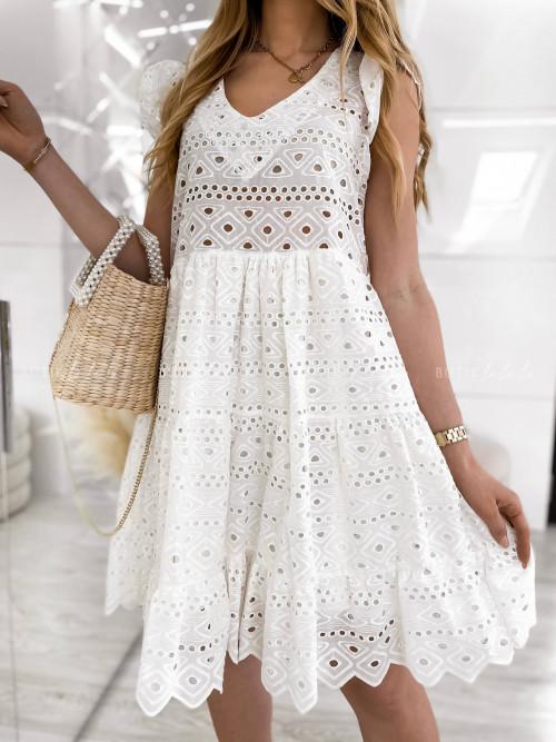 sukienka biała ażurowa Lost