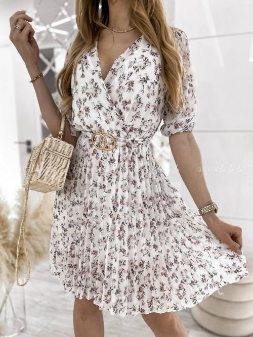 sukienka w kwiaty z ozdobnym paskiem Lara