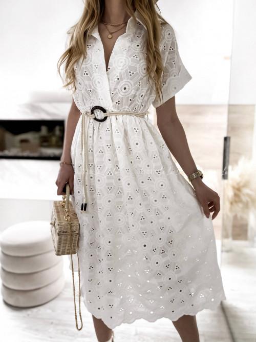 sukienka ażurowa biała midi Tinos