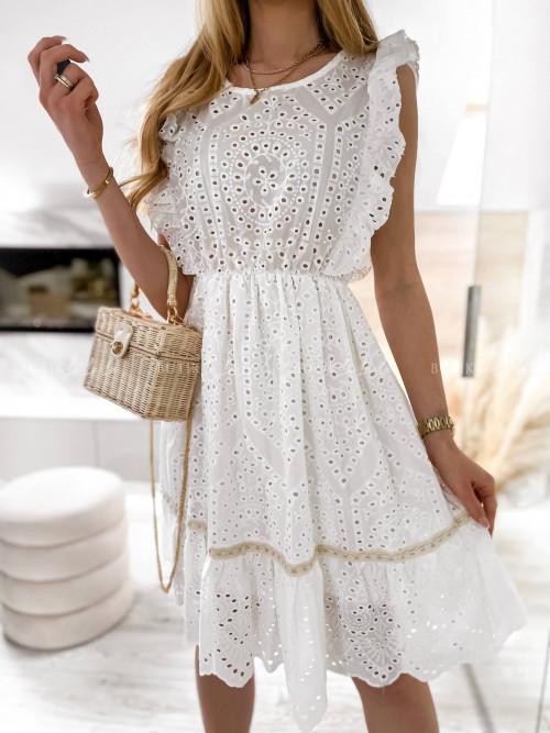 sukienka biała ażurowa Vintara