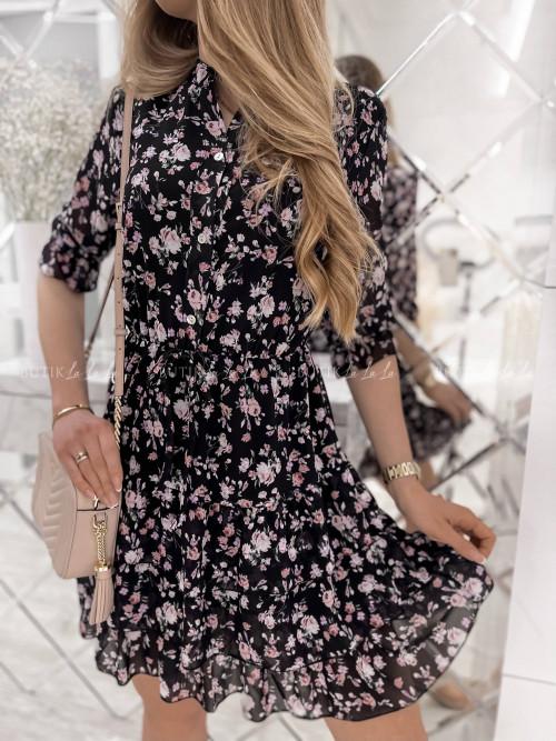 sukienka czarna w kwiatowy print Amber
