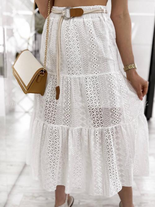 spódnica biała z paskiem Soleila