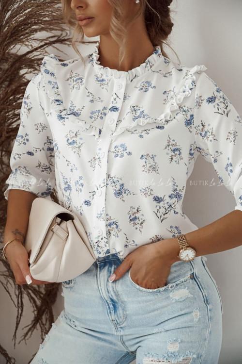 bluzka koszulowa biała w kwiatki Karlos