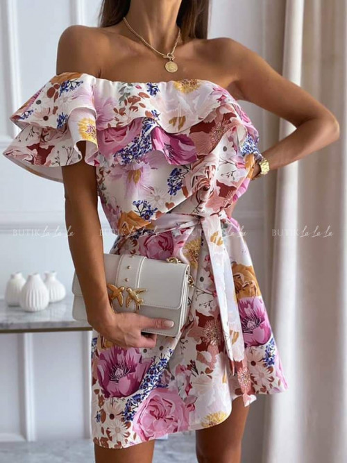 sukienka na jedno ramię w kwiaty Doretti