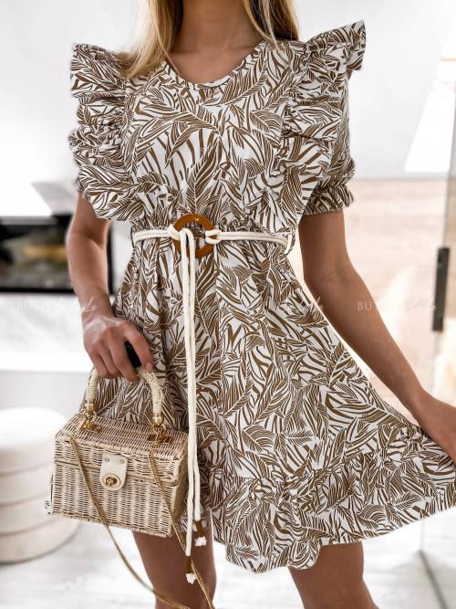 sukienka beżowo- biała we wzory Doretti