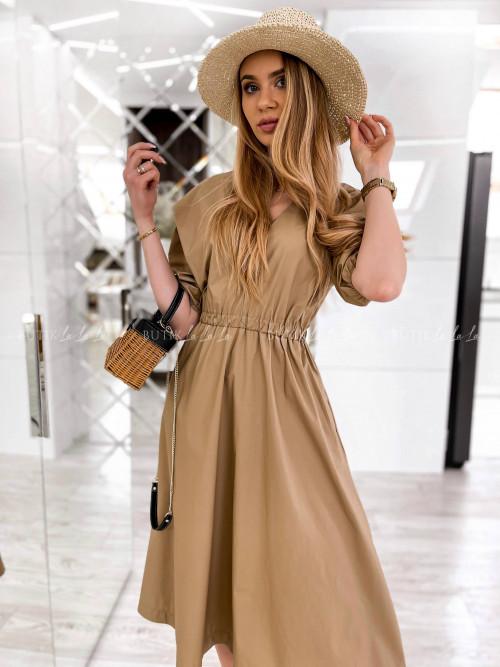 beżowa sukienka midi z kieszeniami Meliora