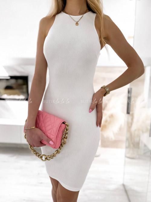 sukienka biała prążkowa Latissa