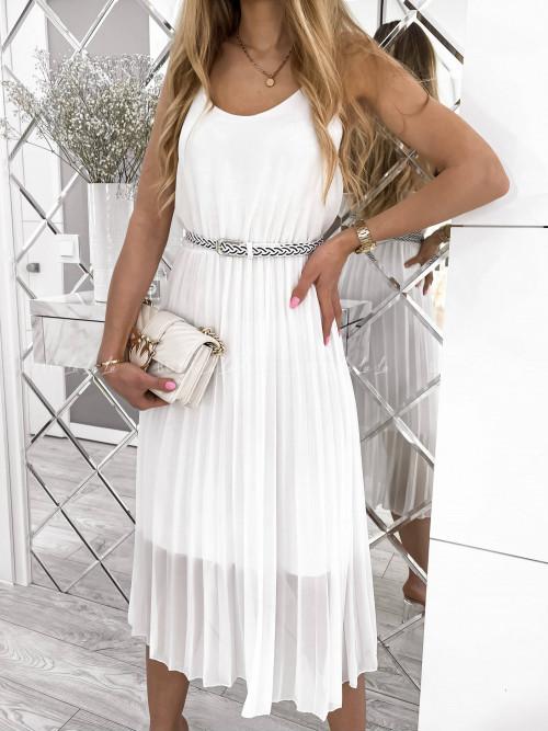 sukienka biała plisa Artiva