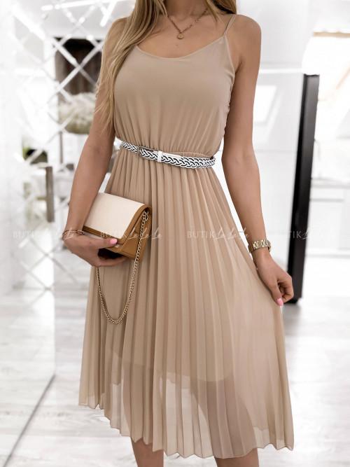 sukienka beżowa plisa Artiva