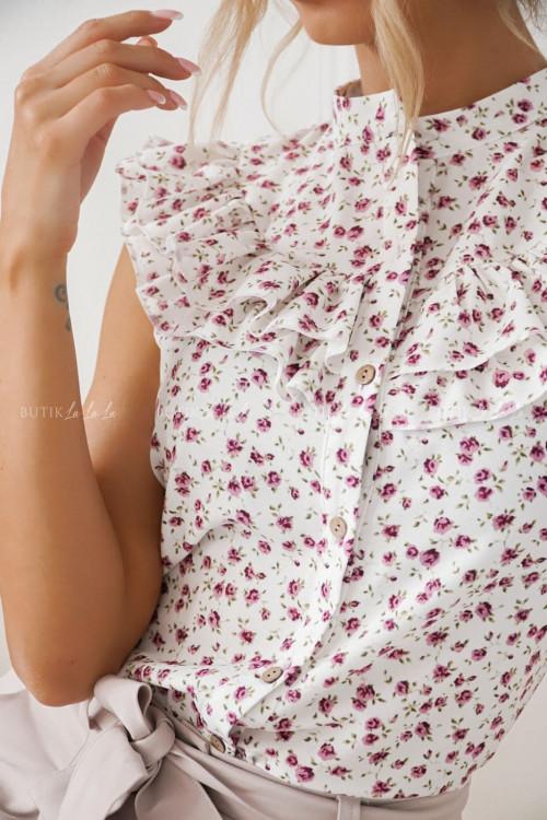 Bluzka biała w wrzosowy print Amy