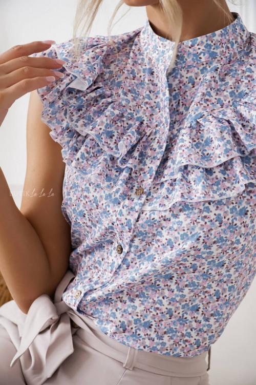 bluzka niebieska w kwiatowy print Amy