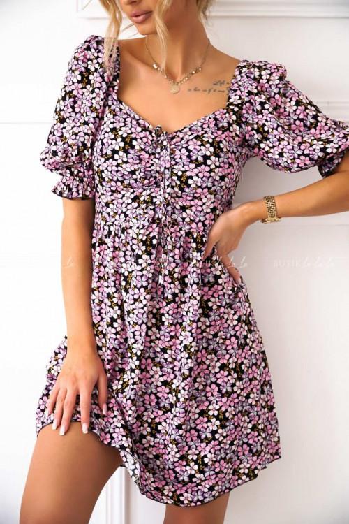 sukienka z marszczeniem różowo-czarna Issa