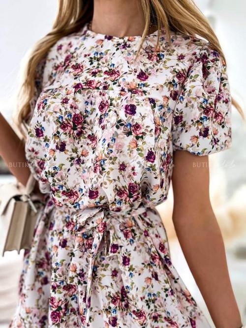 sukienka kremowa w kwiatowy print Tara