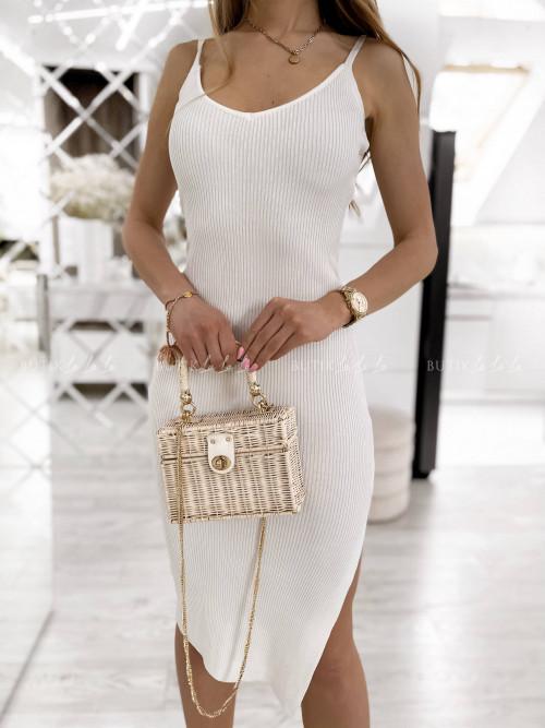 sukienka biała prążkowana Giorgia