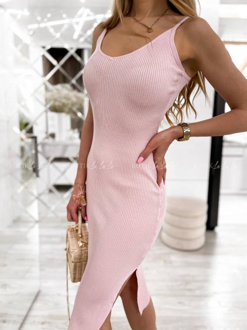 sukienka pudrowy róż prążkowana Giorgia