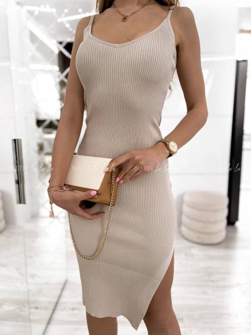 sukienka beżowa prążkowana Giorgia