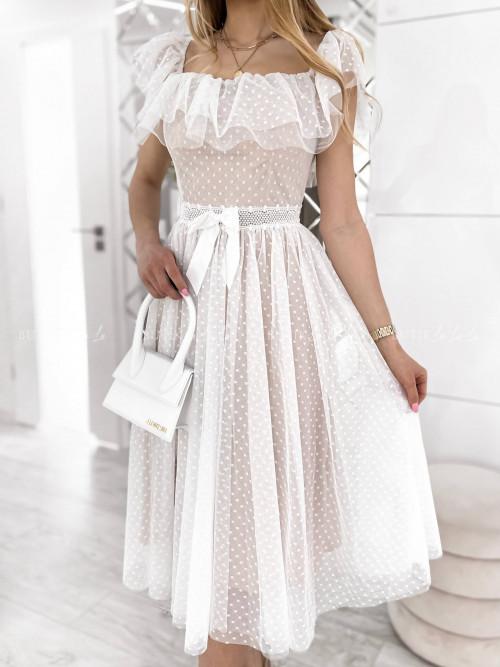 sukienka midi tiulowa biała Margot
