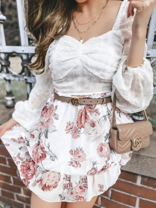 spódniczka biała w kwiaty Mano