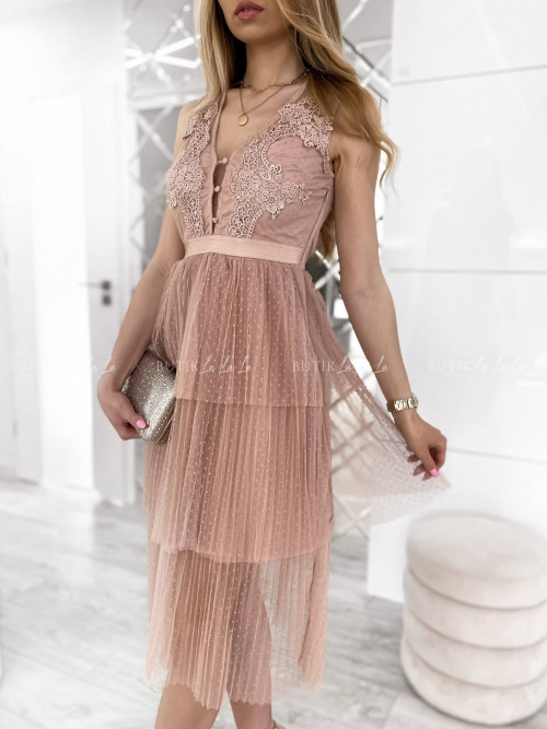 Sukienka z koronkową górą i tiulowym dołem pudrowa Amber