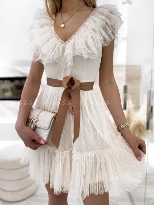 sukienka MINI tiulowa kremowa z falbanką Belisso
