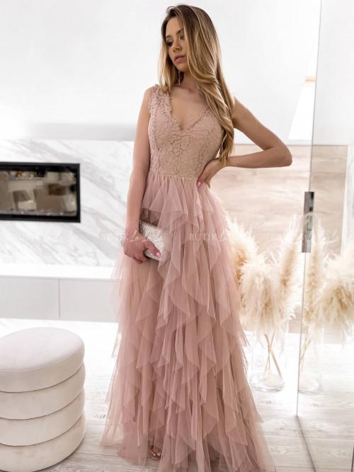 Sukienka maxi z koronkową górą i tiulowym dołem nude Melinda