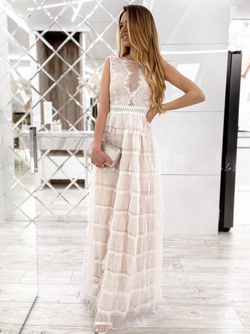 sukienka z tiulem maxi biało-beżowa Katherina
