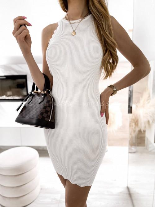 sukienka kremowa prążkowana Naya