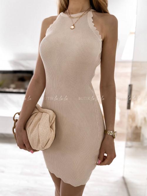sukienka beżowa prążkowana Naya