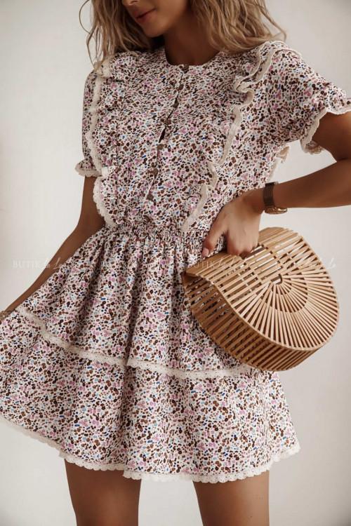 sukienka beżowa w kwiatki Parima
