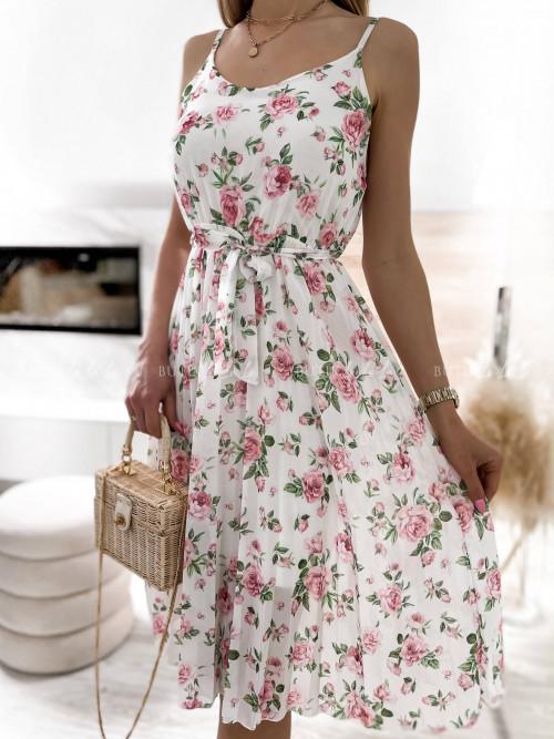 sukienka biała w kwiatki Kensa