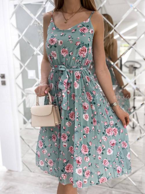 sukienka pistacjowa w kwiatki Kensa