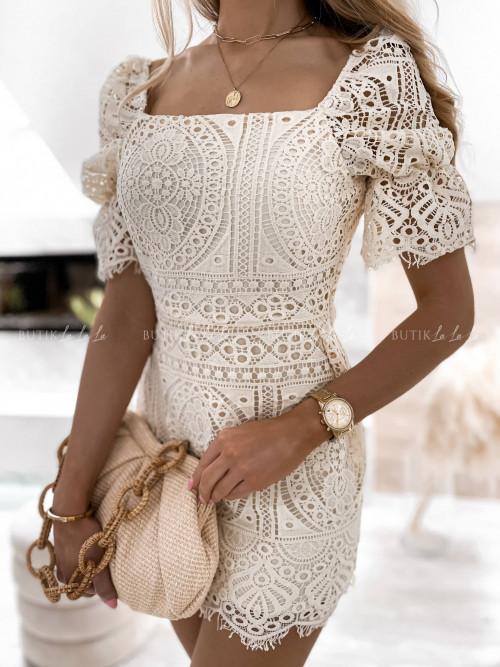 sukienka beżowa ażurowa Vanessa