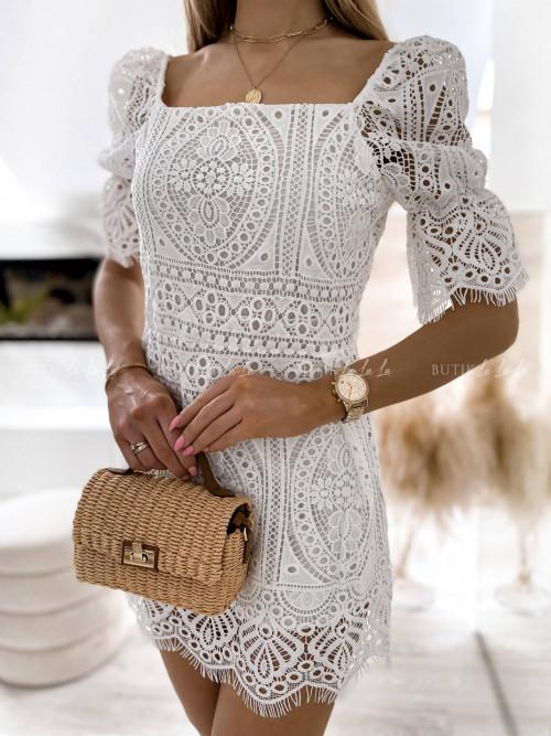 sukienka biała ażurowa Vanessa