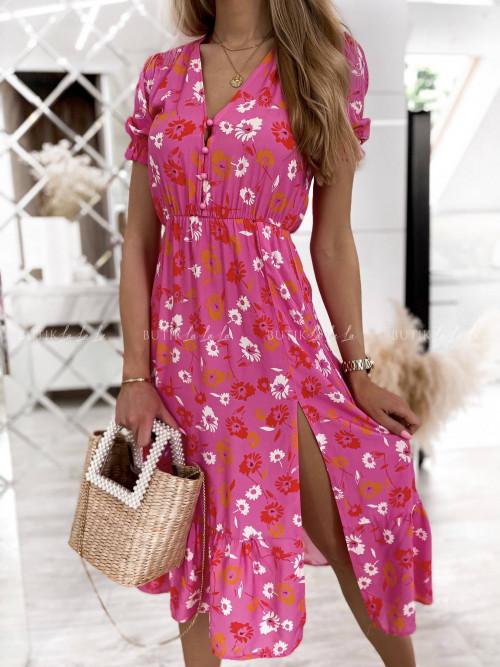 sukienka midi w kwiaty wielokolorwa Mero
