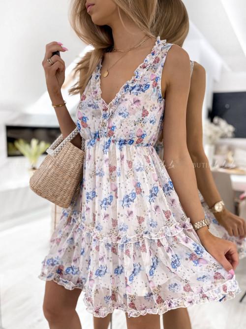 sukienka kremowa w kwiatowy print Sintria