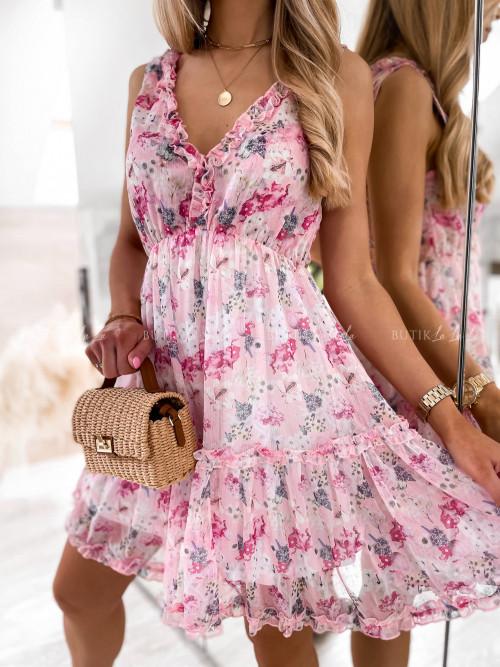 sukienka różowa w kwiatowy print Sintria
