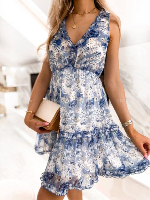 sukienka niebieska w kwiatowy print Sintria
