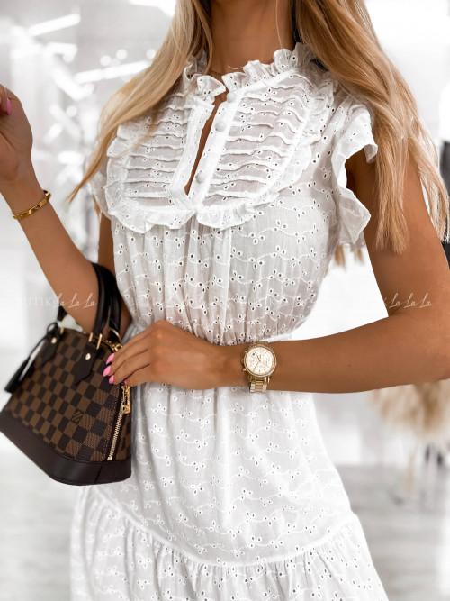 sukienka biała midi ażurowa Alicje