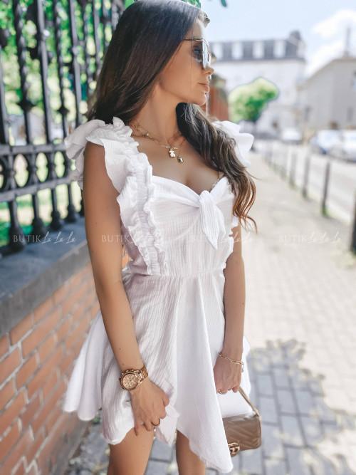 sukienka z wiązaniem biała Wanessa