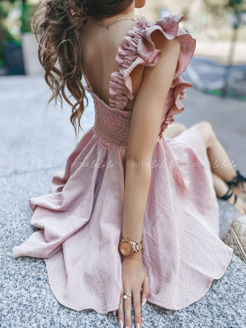 sukienka z wiązaniem pudrowa Wanessa