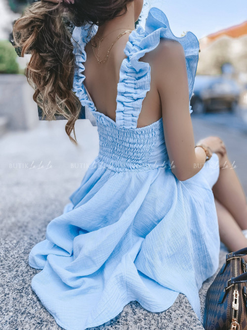 sukienka z wiązaniem błękitna Wanessa