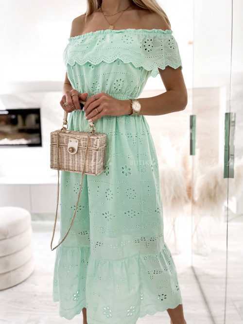 sukienka miętowa ażurowa Aldabra