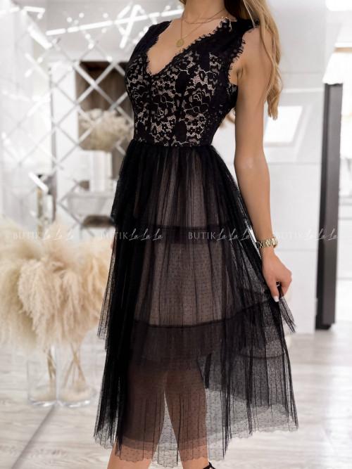 sukienka czarna z koronką Nina