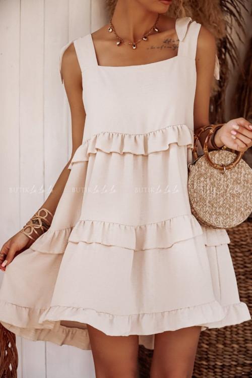 sukienka z falbanami beżowa Caris