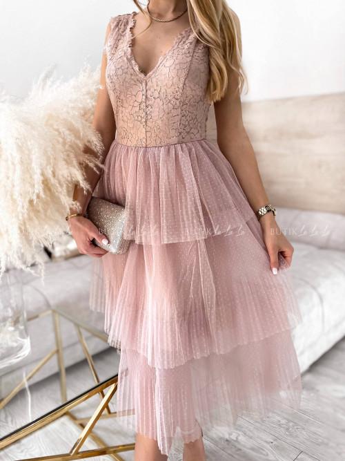 sukienka pudrowa z koronką Nina